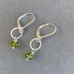 Tiny Earrings with Peridot Beads