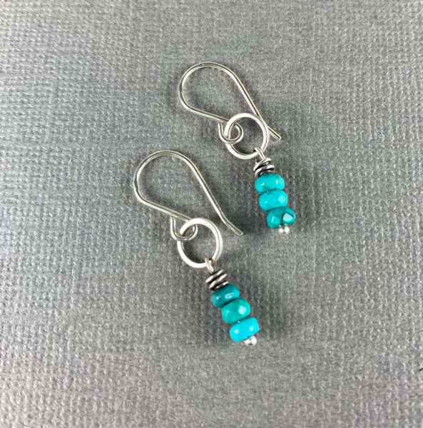Tiny Earrings with Turquoise Beads