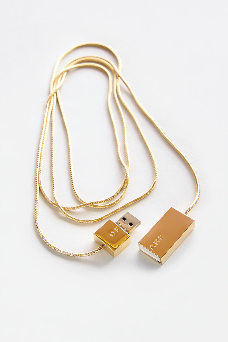 Gold USB Necklace