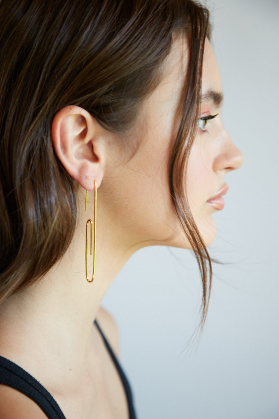 Gold Paperclip Earring
