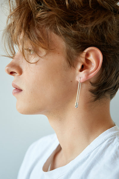 Silver Safety Pin Earring