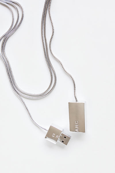 Silver USB Necklace