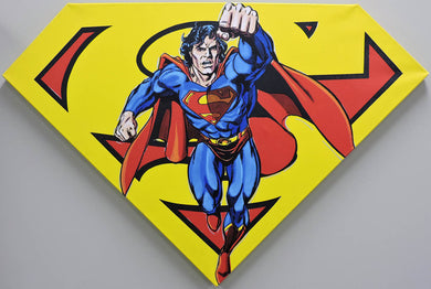Superman Yellow Shield Painting by Steve Kaufman