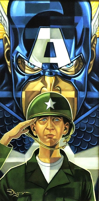 Captain America Transformation Original Painting by Tim Rogerson