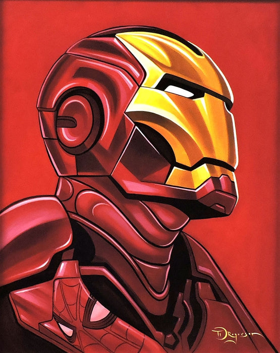 Iron Man with Spider-Man Reflection Original Painting by Tim Rogerson