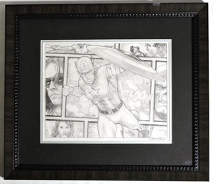 Captain America Beyond The Borders Framed Original Art by Randy Martinez