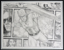 Load image into Gallery viewer, Captain America Beyond The Borders Framed Original Art by Randy Martinez