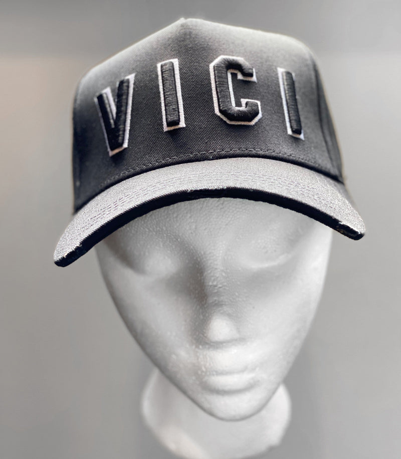 VICI DOUBLE EMBROIDERED BASEBALL CAP -  BLACK / WHITE