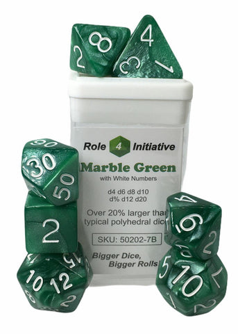 Set of 7 large high-visibility game dice: Marble Green w/ White Numbers