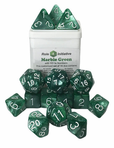Set of 15 large high-visibility game dice: Marble Green w/ White Numbers