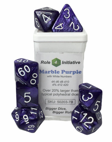 Set of 7 large high-visibility game dice: Marble Purple w/ White Numbers