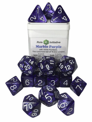 Set of 15 large high-visibility game dice: Marble Purple w/ White Numbers
