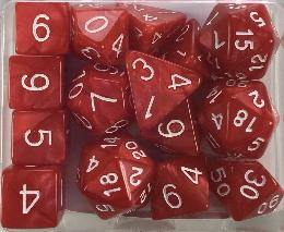 Set of 15 large high-visibility game dice: Marble Red  w/ White Numbers