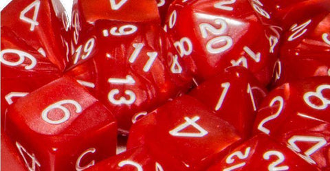 Set of 7 large high-visibility game dice: Marble Red  w/ White Numbers