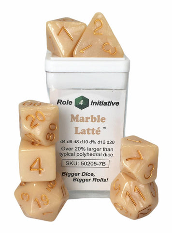 Set of 7 large high-visibility game dice: Marble Latte w/ Metallic Gold Numbers