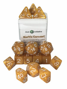 Set of 15 large high-visibility game dice: Marble Caramel w/ White Numbers