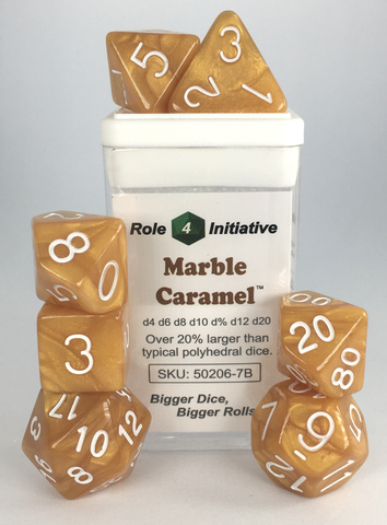 Set of 7 large high-visibility game dice: Marble Caramel w/ White Numbers