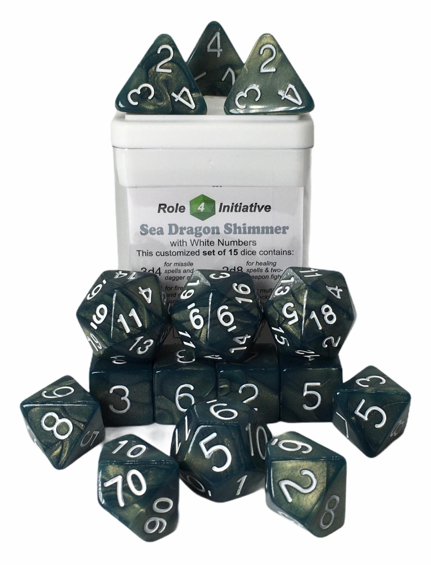 Set of 15 large high-visibility game dice: Sea Dragon Shimmer w/ White Numbers