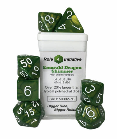 Set of 7 large high-visibility game dice: Emerald Dragon Shimmer w/ White Nums