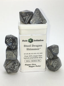 Set of 7 large high-visibility game dice: Steel Dragon Shimmer
