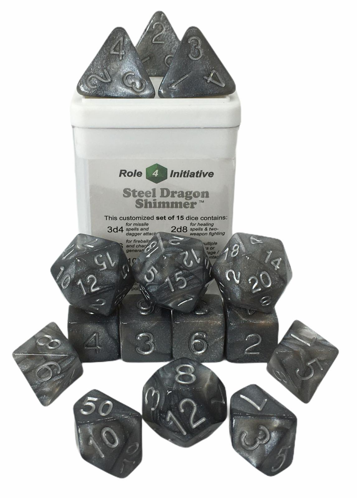 Set of 15 large high-visibility game dice: Steel Dragon Shimmer