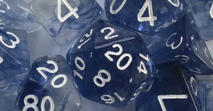 Set of 7 large high-visibility game dice: Diffusion Blue Ink w/ White Numbers