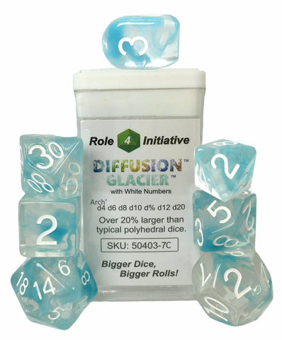 Set of 7 large high-visibility game dice: Diffusion Glacier w/ Arch'd4