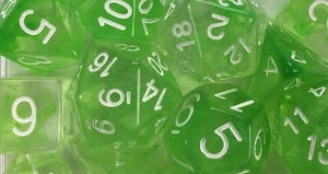 Set of 7 large high-visibility game dice: Diffusion Slime Green w/ White Numbers