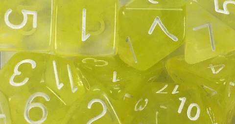 Set of 7 large high-visibility game dice: Diffusion Ochre Jelly w/ White Numbers
