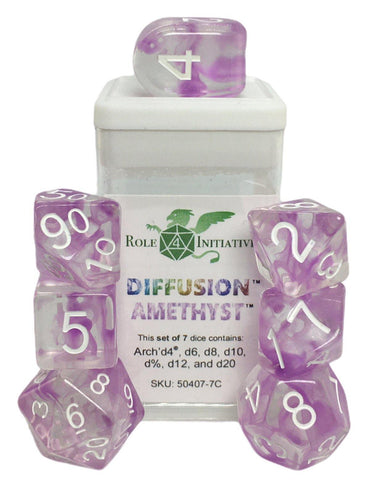 Set of 7 large high-visibility game dice: Diffusion Amethyst w/ Arch'd4
