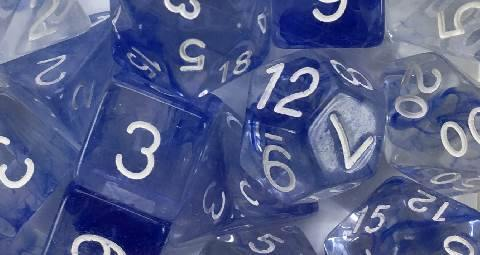 Set of 15 large high-visibility game dice: Diffusion Sapphire w/ White Numbers