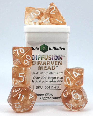 Set of 7 large high-visibility game dice: Diffusion Dwarven Mead w/ White Nums