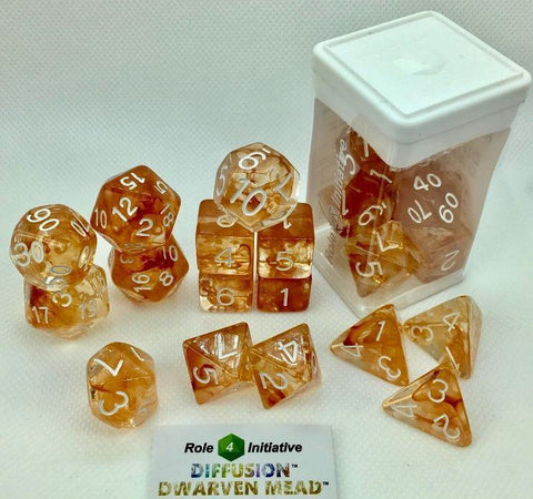 Set of 15 large high-visibility game dice: Diffusion Dwarven Mead w/ White Nums