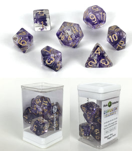 Set of 7 large high-visibility game dice: Diffusion Majesty w/ Mtlc Gold Nums