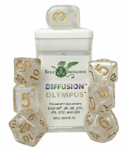 Set of 7 large high-visibility game dice: Diffusion Olympus w/ Arch'd4