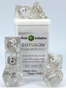 Set of 7 large high-visibility game dice: Diffusion Stormfront w/ White Numbers