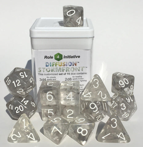 Set of 15 large high-visibility game dice: Diffusion Stormfront w/ White Numbers