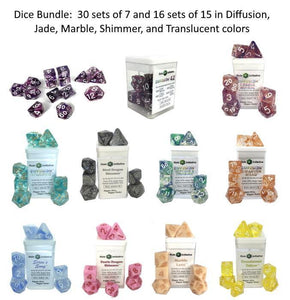 Dice Bundle:  30 sets of 7, 16 sets of 15 in assorted colors
