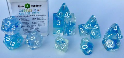 Set of 15 large high-visibility game dice: Diffusion Blue Sky w/ White Numbers