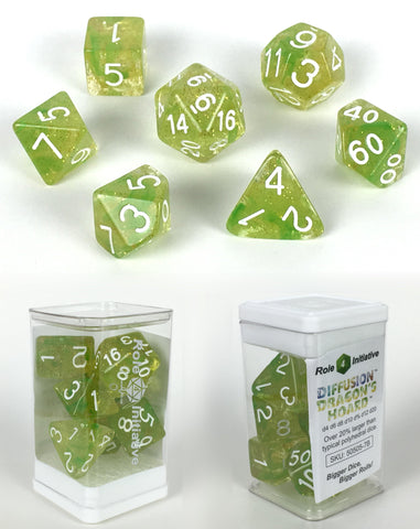 Set of 7 large high-visibility game dice: Diffusion Dragon's Hoard w/ White Nums