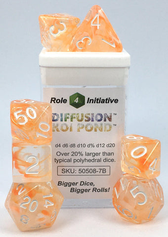 Set of 7 large high-visibility game dice: Diffusion Koi Pond w/ White Numbers