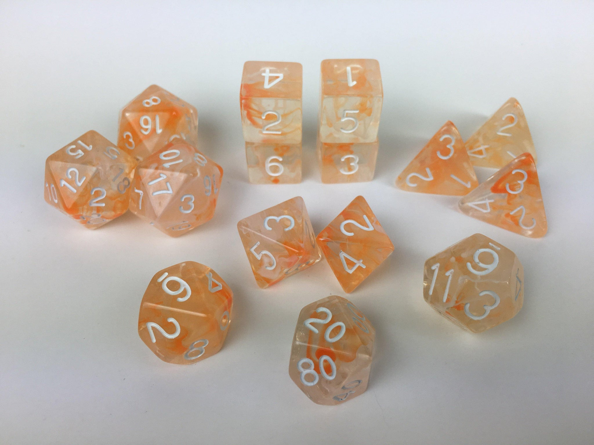 Set of 15 large high-visibility game dice: Diffusion Koi Pond w/ White Numbers