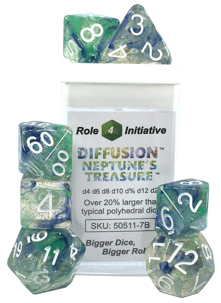 Set of 7 large high-visibility game dice: Diffusion Neptune's Treasure w/ White Numbers