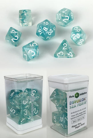 Set of 7 large high-visibility game dice: Diffusion Sea Foam w/ White Numbers