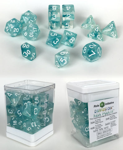 Set of 15 large high-visibility game dice: Diffusion Sea Foam w/ White Numbers