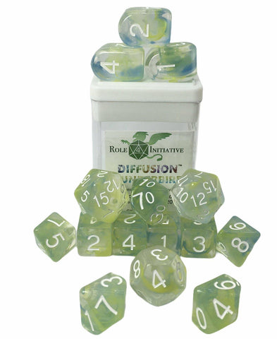 Set of 15 large high-visibility game dice: Diffusion Thunderbird w/ Arch'd4