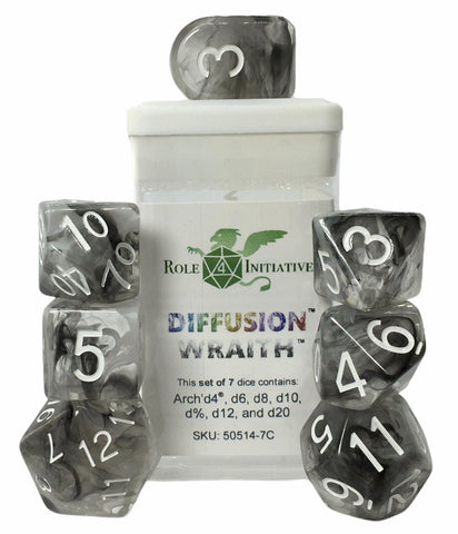 Set of 7 large high-visibility game dice: Diffusion Wraith w/ Arch'd4
