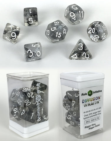 Set of 7 large high-visibility game dice: Diffusion Wraith w/ White Numbers
