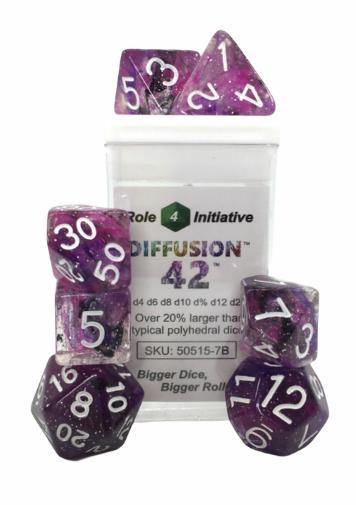 Set of 7 large high-visibility game dice: Diffusion Forty Two w/ White Numbers