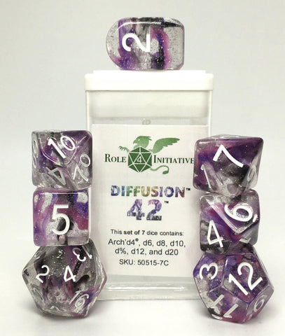 Set of 7 large high-visibility game dice: Diffusion Forty Two w/ Arch'd4